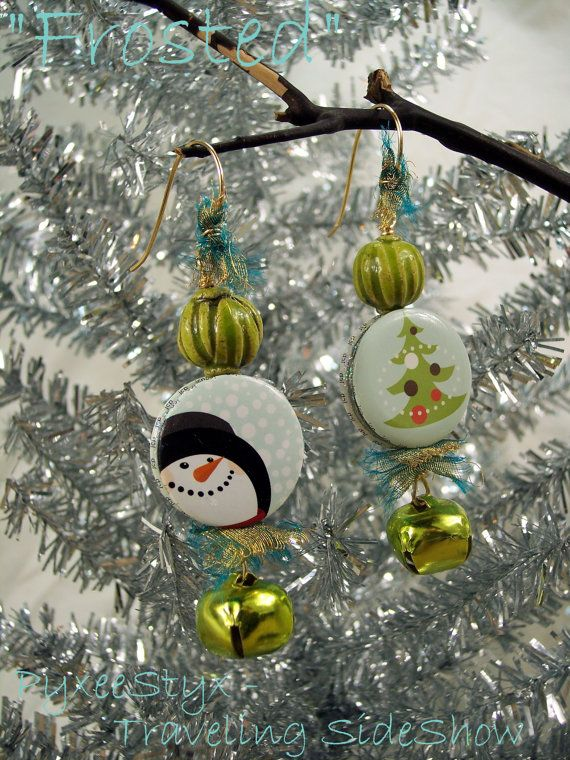 Frosted  holiday earrings - Ceramic art beads, up-cycled buttons with snowman, reindeer, and christmas tree, and jingle bells by PyxeeStyx on etsy