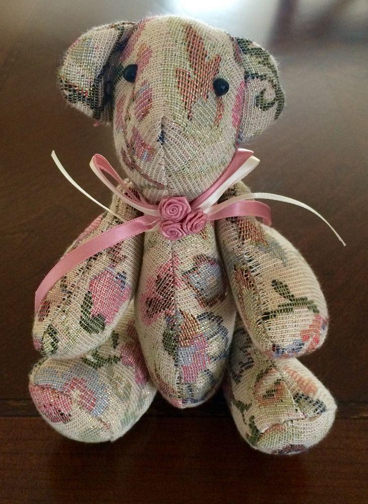 "9"" Handmade Metallic Floral Upholstery Jointed Teddy Bear"