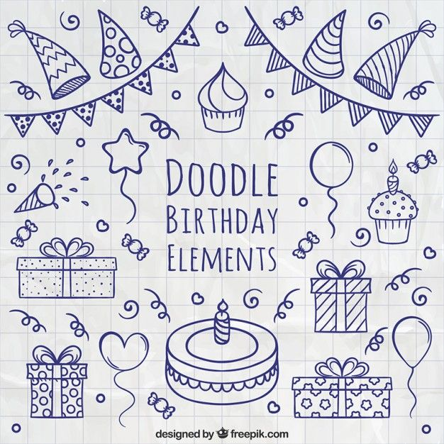 elementos de aniversário Doodle Vetor grátis