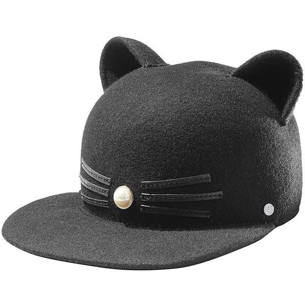 Karl Lagerfeld Wool Cap ($115) ❤ liked on Polyvore featuring accessories, hats, black, cap hats, woolen caps, wool hat, karl lagerfeld and cat ear cap