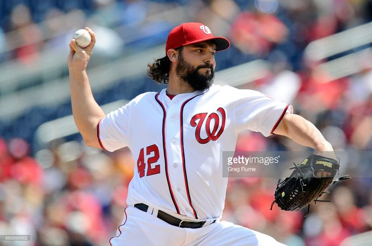 Tanner Roark #42 of the Washington Nationals pitches in the first inning against the Philadelphia Phillies at Nationals Park on April 15, 2017 in Washington, DC. All players are wearing #42 in honor of Jackie Robinson Day.