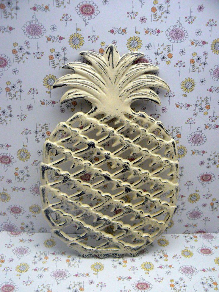 Cast Iron Pineapple Trivet Off White Shabby Chic Kitchen Hot Plate Home Decor