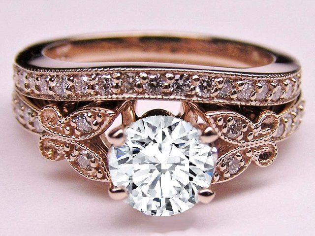 Fancy - Diamond Butterfly Vintage Engagement Ring & Matching Wedding Band 0.37 tcw. In Rose Gold