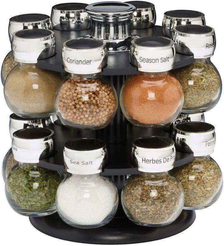 Really like the look & functionality of this! Kamenstein Ellington 16-Jar Revolving Spice Rack