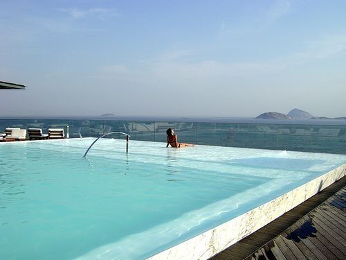 Fasano Rio, Rio de Janeiro – Brazil. My hotel had the pool on the rooftop. I always stayed at same one...over looking copa cobana beach.