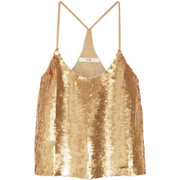 Tibi Éclair sequined silk-georgette camisole found on Polyvore featuring tops, gold, loose camisole tops, brown top, cut loose tops, tibi top and loose fit tops