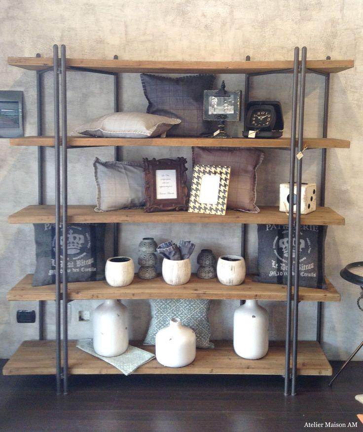 Libreria ferro e legno riciclato
