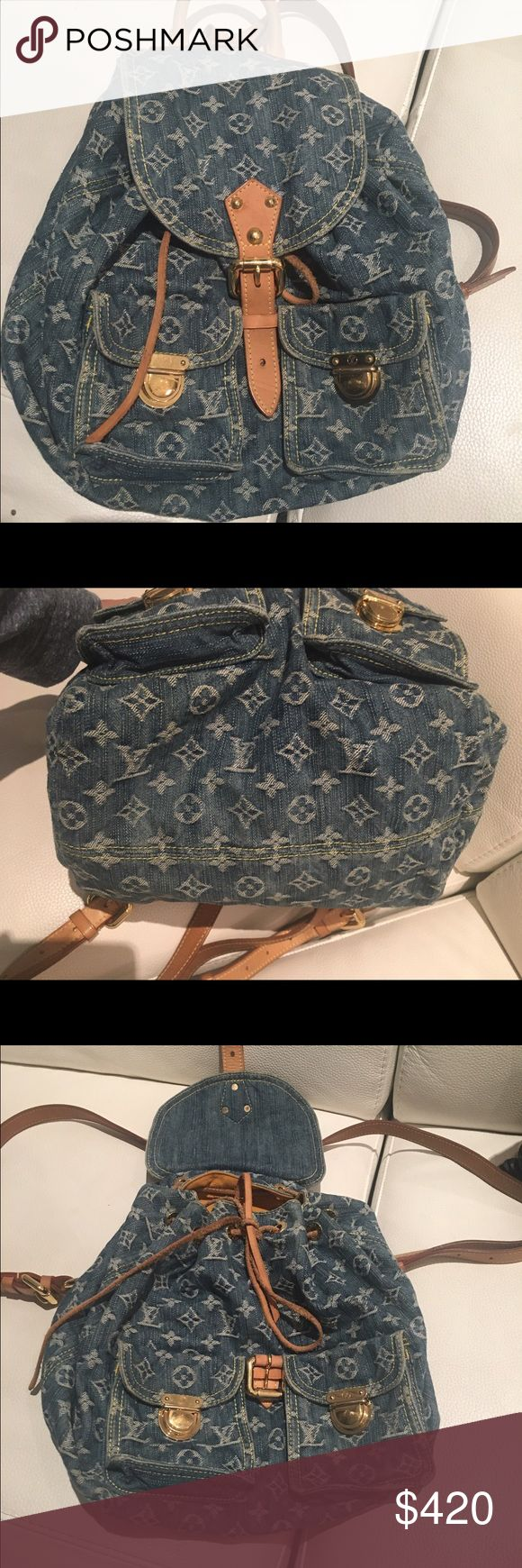 Louis Vuitton Denim Backpack Authentic LV Sac a Dos Denim Monogram GM.Gently used, some pen marks in the interior. Louis Vuitton Bags Backpacks