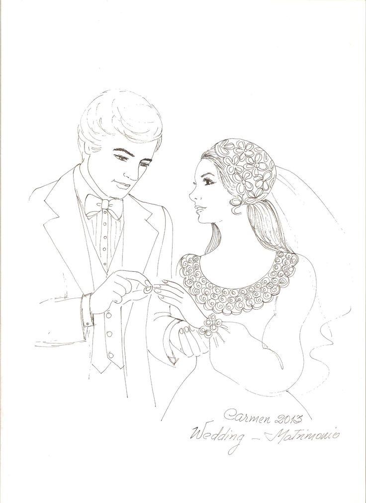 Раскраска свадебная открытка, открытки