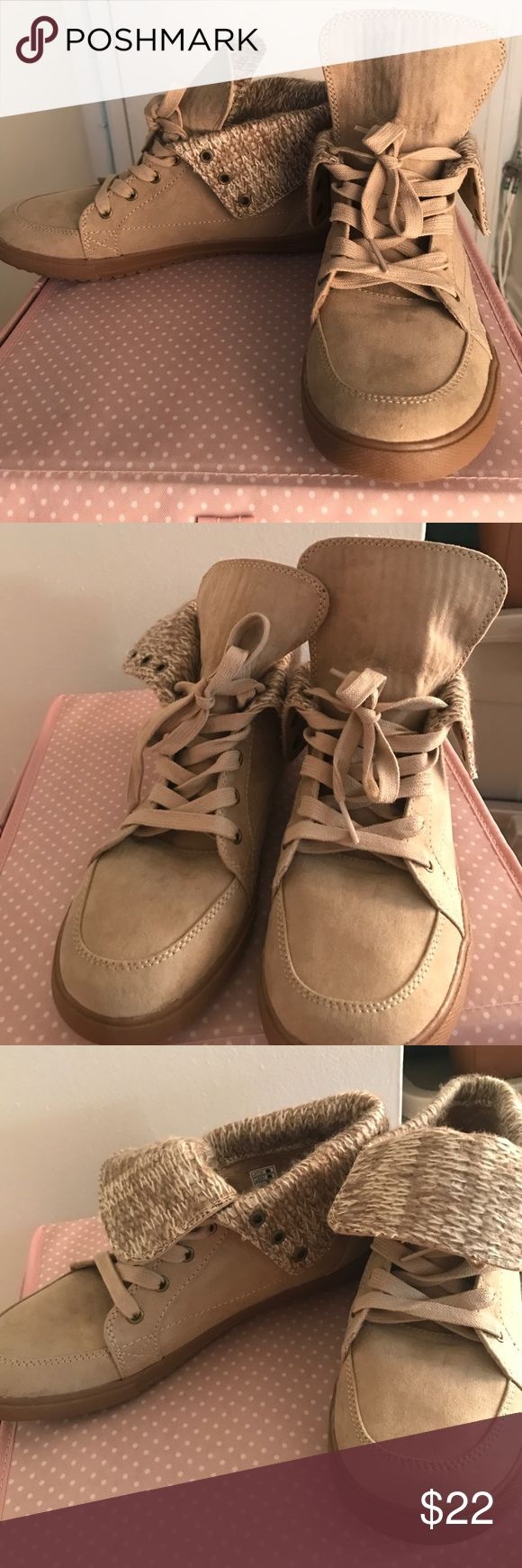NWOT never worn nude ankle boots! Never worn and ate in fantastic shape. Tops of the shoes and gold or stay up for dual looks. Color is an oatmeal. Rocket Dog Shoes Ankle Boots & Booties