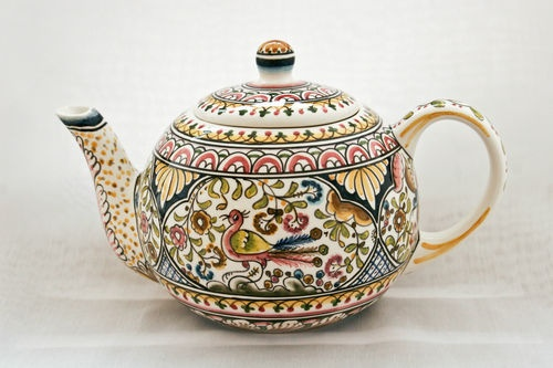 Teapot From Coimbra Portugal Hand Painted Ceramic