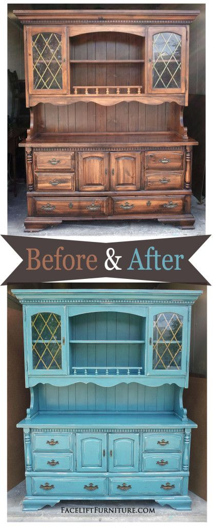 Hutch in distressed Sea Blue with Black Glaze ~ Before & After. Find more inspiration on our Pinterest boards, or on the Facelift Furniture DIY blog.