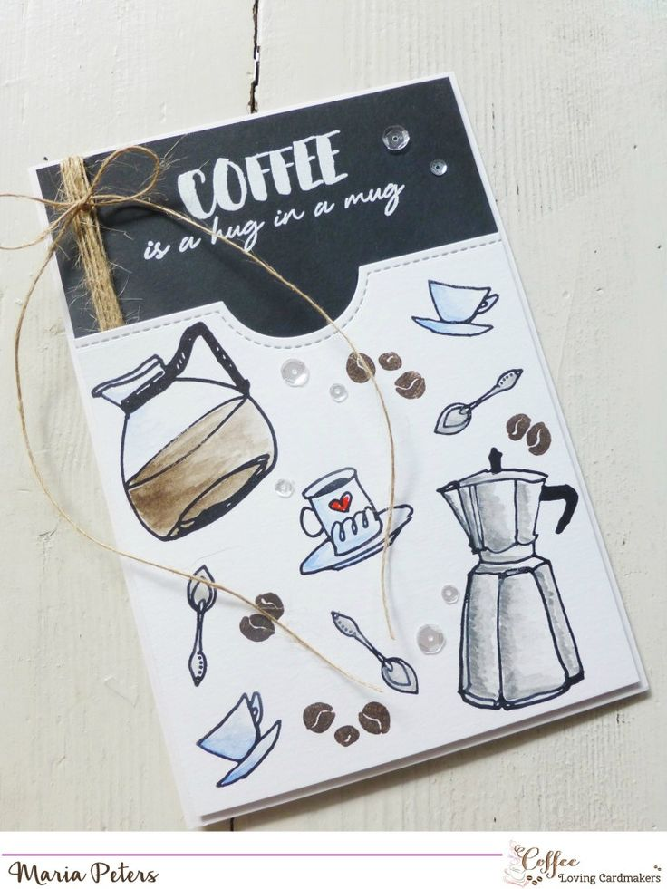 A die cut pocket stamped with Altenew coffee stamps, layered to a black card (wrapped with string). Simple, elegant, effective! Have to try this one myself.