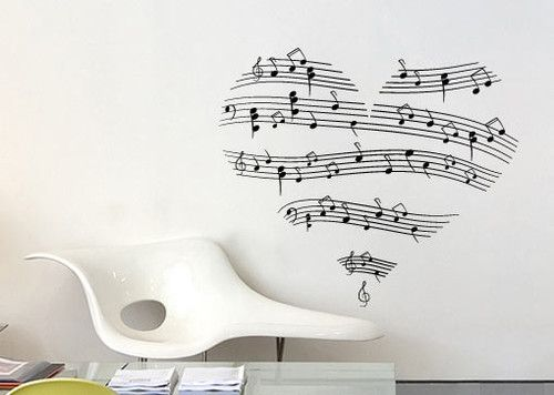 music vinyl wall decal - love music decal