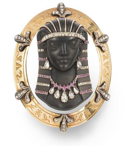 Egyptian revival hardstone cameo 1880