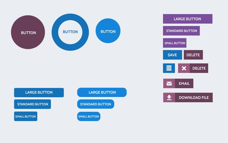 Flat Design Buttons PSD