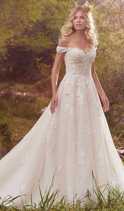Off-the-Shoulder Lace Bodice Wedding Dress