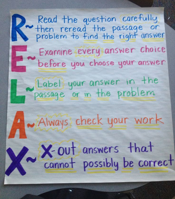 Test taking strategies - RELAX. Love this.