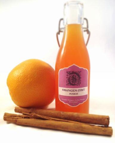 Orangen-Zimt-Punsch Den Saft von 6-8 ausgepressten Orangen (600 ml) 2 Zimtstangen 150 Gramm Zucker, weiss
