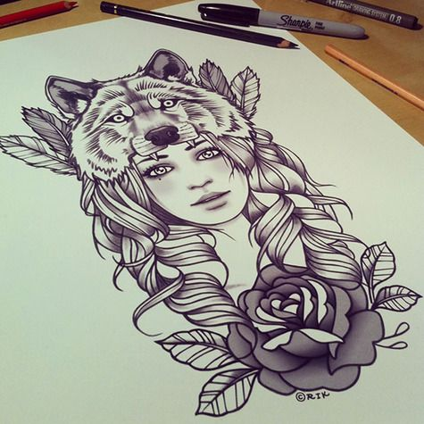 I would give her red hair and blue eyes to represent both my cherokee and irish heriatge with a hawk instead of a wolf