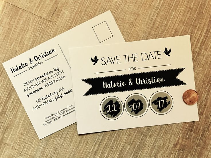 Einladungskarten - Save the Date - Rubbellos-Karte - ein Designerstück von MazetDesign bei DaWanda