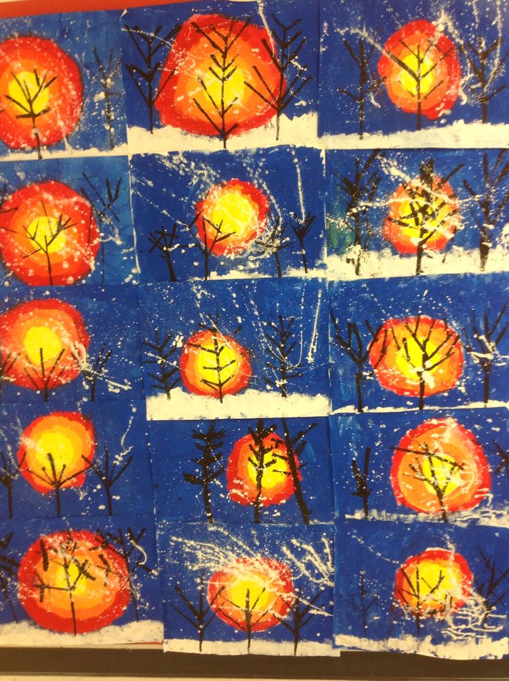 This artwork has a lot of fun steps to create a beautiful winter scene. Students begin by painting the setting sun in the background and the blue sky. Next they sponge paint the snow on the ground …