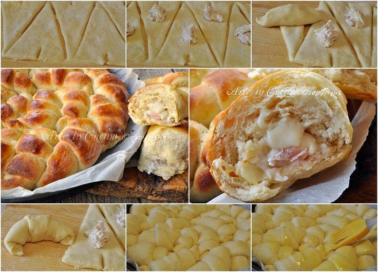 Torta di pan brioche salata cornetti ripieni