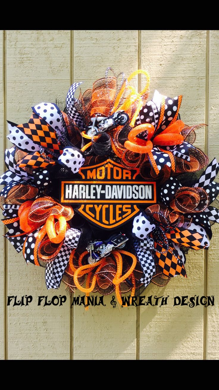 Harley Davidson deco mesh wreath Flip Flop Mania & Wreath Design