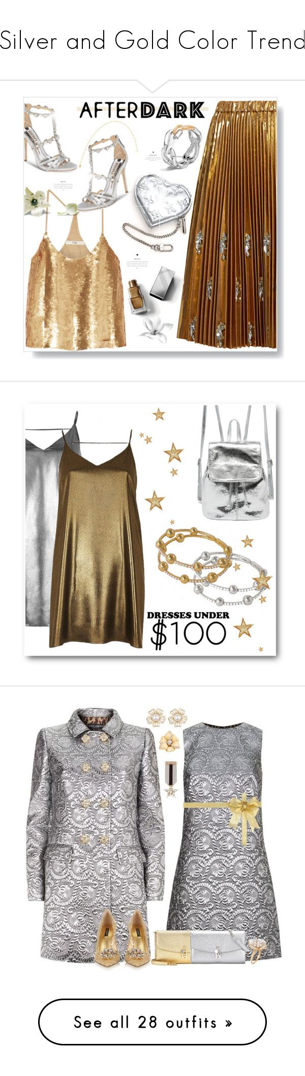 """""""Silver and Gold Color Trend"""" by yours-styling-best-friend ❤ liked on Polyvore featuring N°21, Badgley Mischka, Burberry, Louis Vuitton, John Hardy, TIBI, River Island, Dolce&Gabbana, Ross-Simons and Rina Limor"""