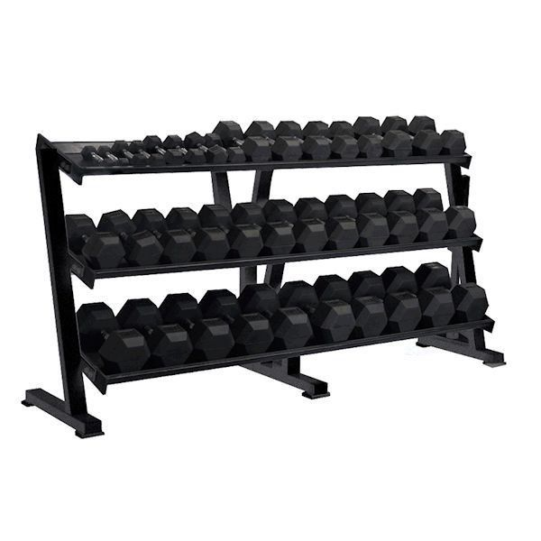 York Rubber Hex Dumbbell Set with Rack 5-75 lbs