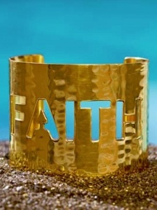 FAITH Hammered Gold Cuff