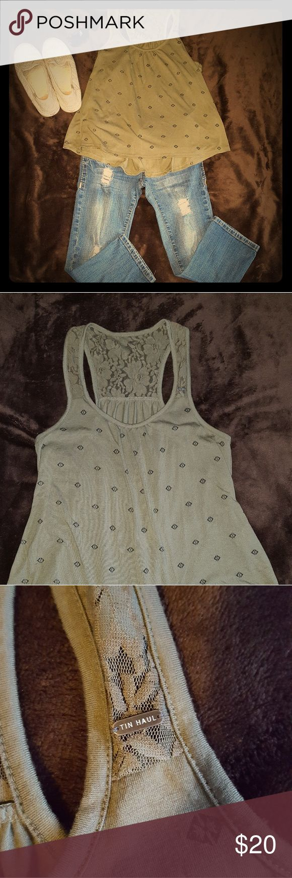 Tin Haul high/low tank NWOT!! Gorgeous olive green color, lace racerback. Comes from a smoke and pet free home. Thanks! Tin Haul Tops Tank Tops