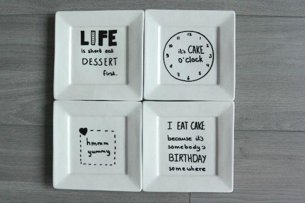 simple thoughts gebaksbordjes versieren. DIY met grappige quotes: Life is short, eat dessert first