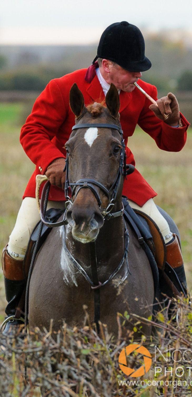 Belvoir Huntsman John Holliday blowing for hounds The