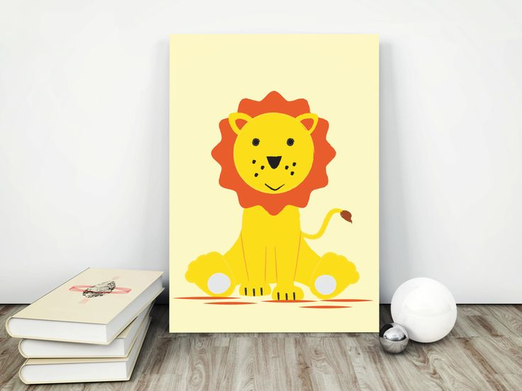 Poster print sweet lion, kids room art, wall art decor, animal prints, nursery wall art, gift for boy and girl, simple design, graf poster by GrafPoster on Etsy