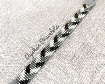 Wit zwart grijs en Miyuki armband zilver / kralen armband / minimalistische stijl / Miyuki armband Bead / Miyuki Delica