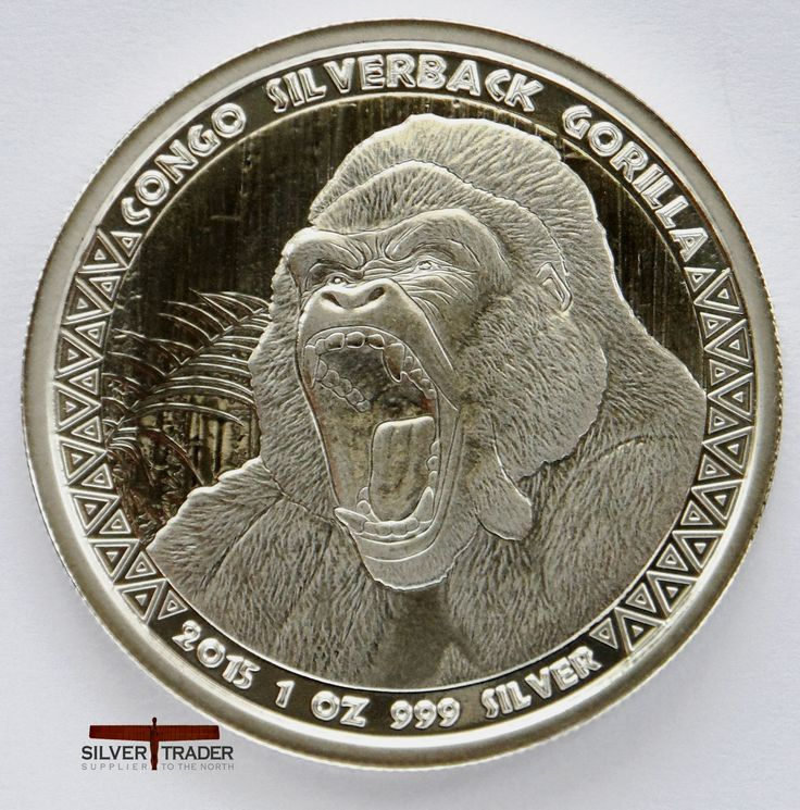 This 2015 Congo Silverback Gorilla 1 ounce bullion coin is the first coin of a series released by the Scottsdale Mint for the Republic of Congo