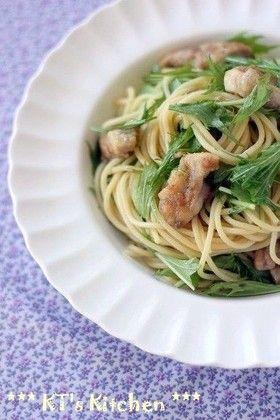 鶏肉と水菜のレモンバター醤油スパゲティ by KT121 [クックパッド] 簡単おいしいみんなのレシピが241万品