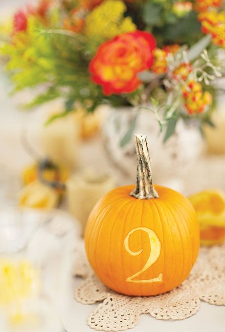Pumpkins carved with numbers