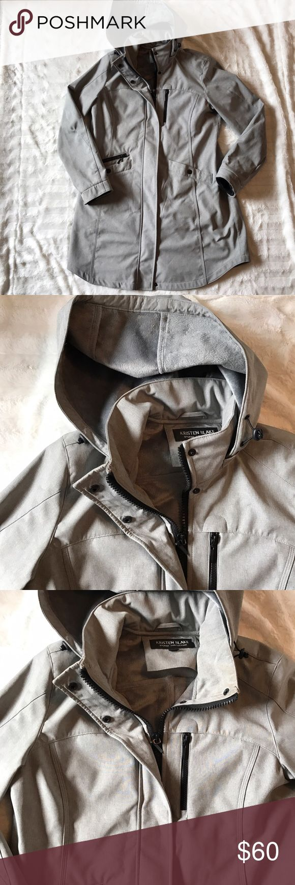 "Kristen Blake Cross Due Soft Shell  Hooded Jacket Size large Perfect condition Smoke pet free home  Color gray Inside lined with soft Faux Fur material  Length 35.5"" Pit to pit 22"" Kristen Blake Jackets & Coats"