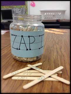 Zap It! Great multiplication fact game for 2+ players. Student draws a stick and must give the correct answer to keep the stick. If the students misses it then he/she must put the stick back. Students keep playing back and forth. If a student draws a ZAP IT stick then they must put ALL their sticks back. Student with the most sticks wins!