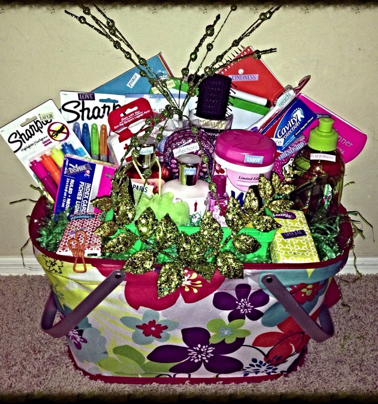 College Student Gift Basket for her.  This basket is stocked with a variety of school and personal supplies, which makes a perfect gift for any occasion.