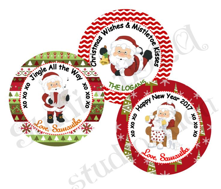 """Custom Santa Claus 2.5"""" Printable Tags-Toppers-Holidays Wishes Personalized Tags, DIY (You Print) 2.5"""" tags-Digital File by StudioIdea on Etsy"""