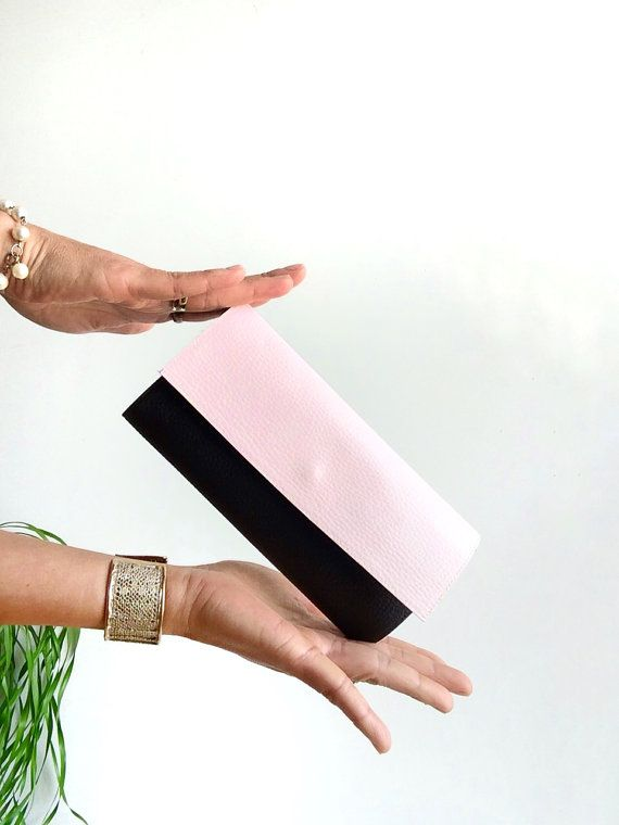 Wearing cruelty-free vegan leather just feels right! Stylish Soft pink and black vegan wallet  minimalist by PittiVintage