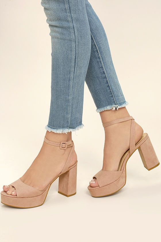 We are blushing over the flirty design of the Chinese Laundry Theresa Rose Pink Suede Platform Heels! Faux suede creates a dreamy peep-toe upper (with 1.25