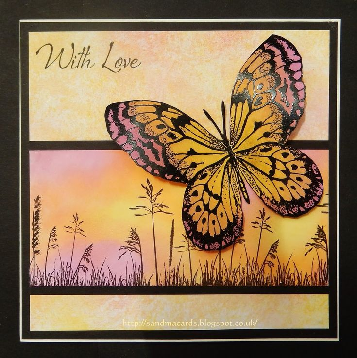 Sandma's Handmade Cards: Inkylicious Bigz Buterfly and Wild Field Grasses stamps