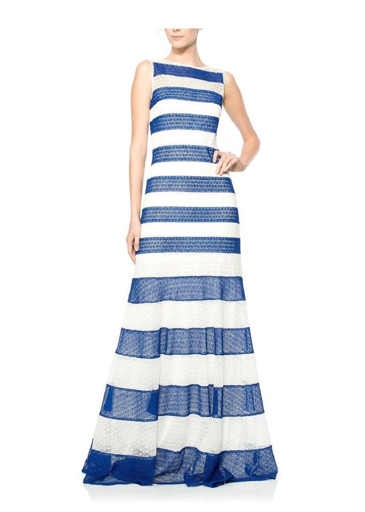 Bermuda/White Tadashi Shoji Sleeveless Striped Dress - was $588.0, now $308.0 (48% Off) @ Ideel