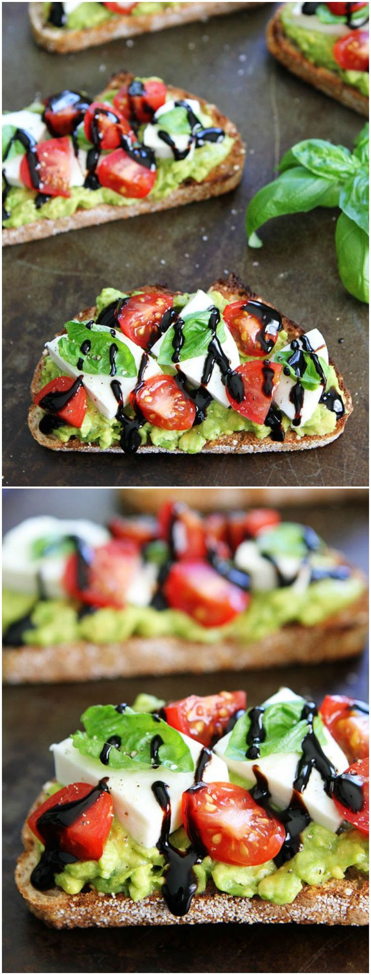 Caprese Avocado Toast Recipe on twopeasandtheirpod.com This toast is great for breakfast, lunch, or served as a party appetizer!