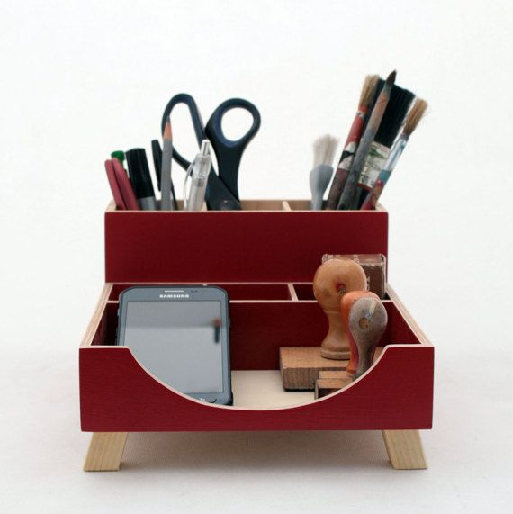 FREE SHIPPING Desk Organizer, Red Desktop Organizer This Wood Desk Organizer set makes organize your desktop. This beautiful hand crafted set made of plywood and painted on Red color. It will perfect Gift ideas for him and everyone. This unique set can compose with clocks from my store.  Size: low box 20cm x 20cm x 7cm / 8 x 8 x 3  high box 20cm x 7cm x 12,5cm / 8 x 3 x 5  In option you can choose a different color instead ------------------------------------------------------ Feel free to…