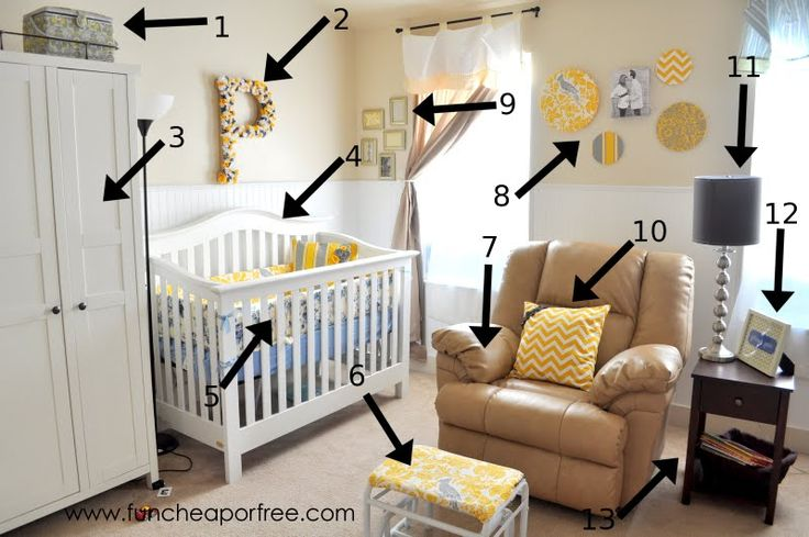Gray and yellow nursery DIY. love the ottoman idea... could use with rocking chair